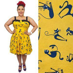 Eva Rose Cat Print Sweetheart Dress in Mustard